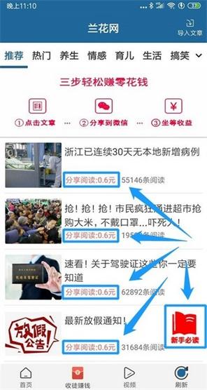 兰花网转发文章赚钱平台,点击单价0.6元