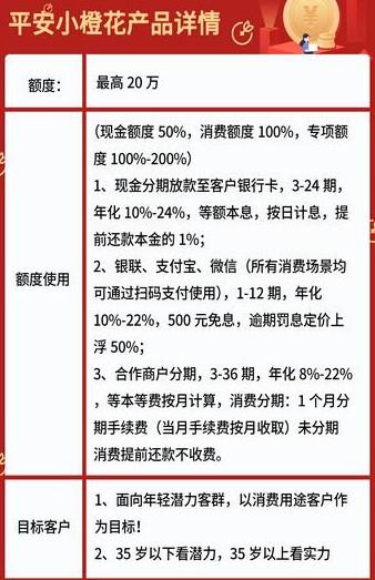 平安小橙花:平安银行消费金融产品,最高额度20万